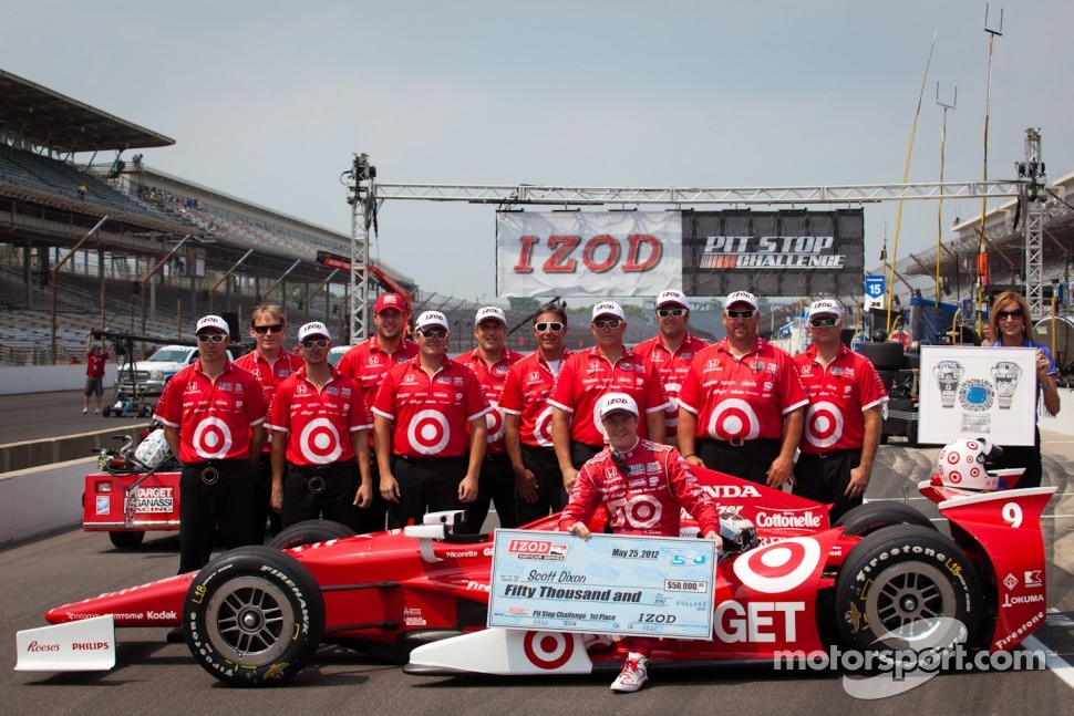 Pit stop challenge: winner Scott Dixon and the Target Chip Ganassi Racing team