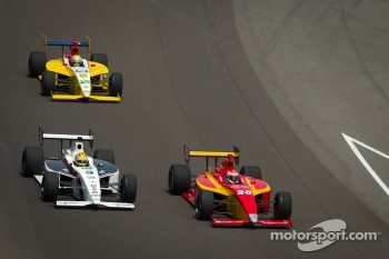 Carlos Munoz, Andretti Autosport and Victor Carbone, Sam Schmidt Motorsports battle for the lead