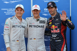 Qualifying results, 1st Michael Schumacher, Mercedes AMG Petronas with 2nd place Mark Webber, Red Bull Racing and 3rd Nico Rosberg, Mercedes AMG Petronas, Mercedes AMG Petronas has a 5 place penalty from the last race)