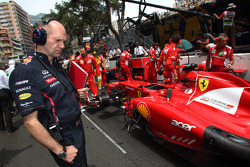 Adrian Newey, Red Bull Racing Chief Technical Officer looks at the Ferrari