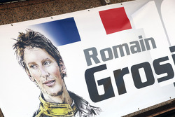Pit garage sign for Romain Grosjean, Lotus F1 Team