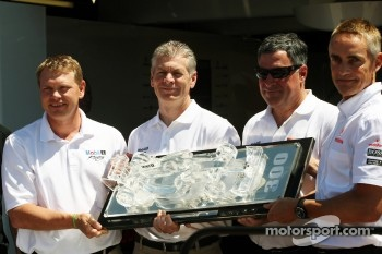 Martin Whitmarsh, McLaren Mercedes Chief Executive Officer, celebrates McLaren's 300 Grands Prix partnership with Mobil