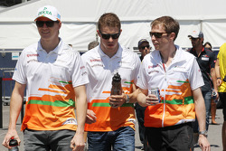 Nico Hulkenberg, Sahara Force India F1 with team mate Paul di Resta, Sahara Force India F1 and Will Hings, Sahara Force India F1 Press Officer