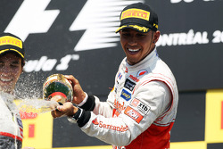 Race winner Lewis Hamilton, McLaren Mercedes celebrates on the podium