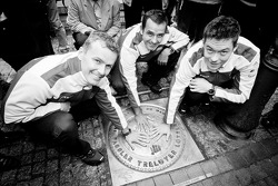 Hand imprint ceremony: 2011 24 Hours of Le Mans winners Marcel Fässler, Andre Lotterer and Benoit Tréluyer