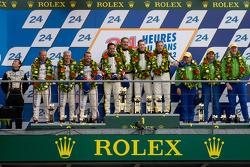 LMGTE Am podium: class winners Patrick Bornhauser, Julien Canal, Pedro Lamy, second place Anthony Pons, Raymond Narac, Nicolas Armindo, third place Tracy Krohn, Nic Jonsson, Michele Rugolo
