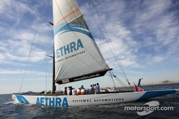 The Sahara Force India F1 Team drivers on the Aethra America's Cup Boat