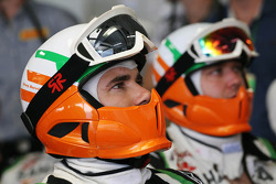 Sahara Force India F1 Team mechanics watch the race