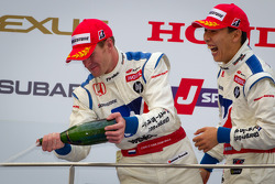 GT500 podium: winners Carlo Van Dam and Takashi Kogure