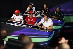 The FIA Press Conference, Williams; Romain Grosjean, Lotus F1 Team; Vitaly Petrov, Caterham; Lewis Hamilton, McLaren Mercedes Mercedes; Fernando Alonso, Ferrari; Paul di Resta, Sahara Force India F1