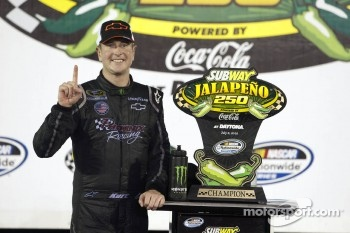 Victory lane: race winner Kurt Busch celebrates