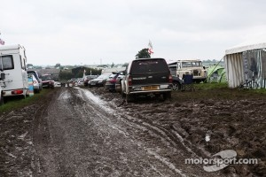 Muddy car parks