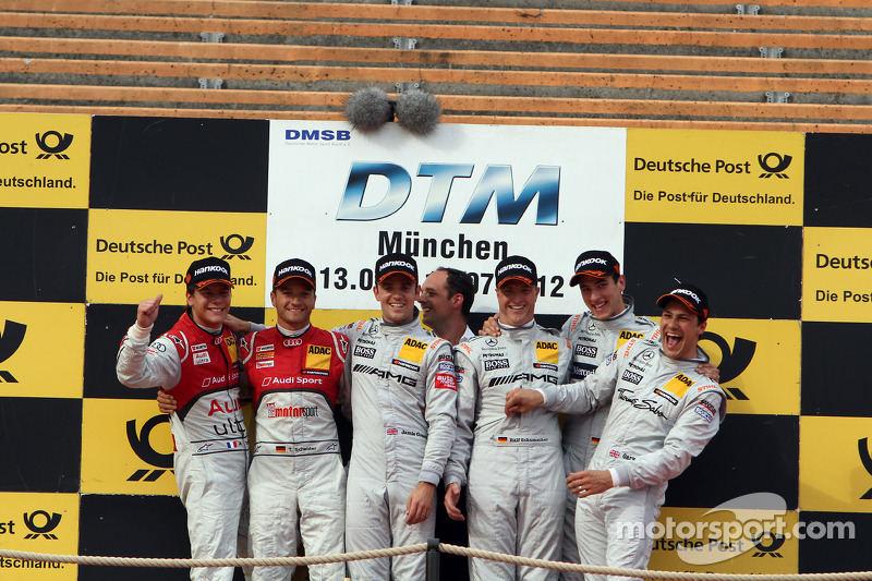 Podium second place Timo Scheider and Adrien Tambay, first place Jamie Green and Ralf Schumacher, third place Gary Paffett and Christian Vietoris
