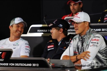 Nico Rosberg, Mercedes AMG F1 with Sebastian Vettel, Red Bull Racing and Michael Schumacher, Mercedes AMG F1 in the FIA Press Conference