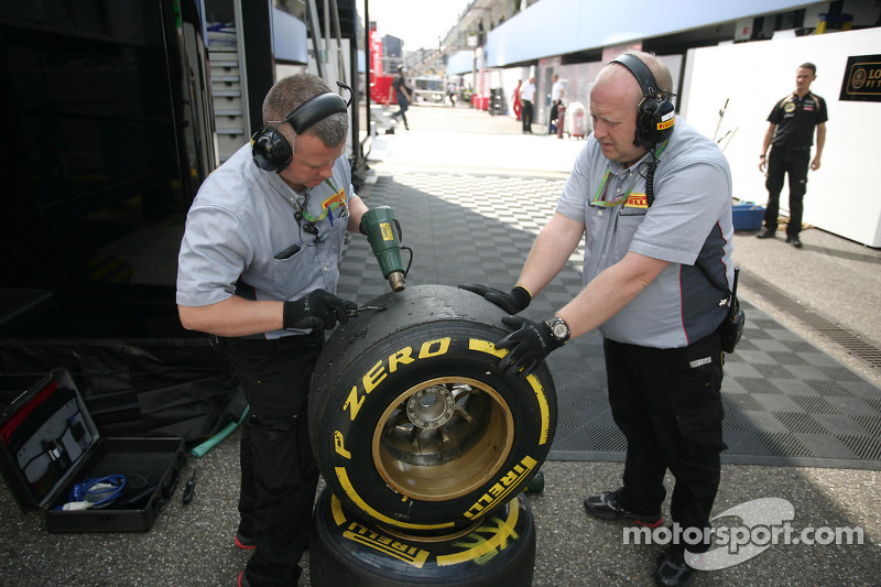 Mechanics working on Pirelli Tires