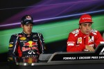 Pole sitter Fernando Alonso, Scuderia Ferrari and Sebastian Vettel, Red Bull Racing in the FIA Press Conference