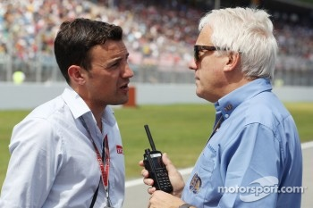 Will Buxton, Speed TV Presenter and Charlie Whiting, FIA Delegate on the grid