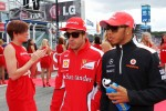 Fernando Alonso, Ferrari with Lewis Hamilton, McLaren on the drivers parade