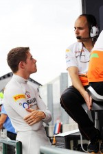 Paul di Resta, Sahara Force India F1 talks with Gianpiero Lambiase, Sahara Force India F1 Engineer on the pit gantry
