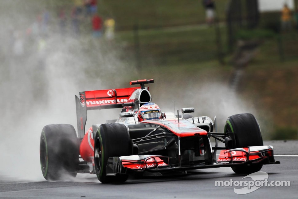 Jenson Button, McLaren in the wet