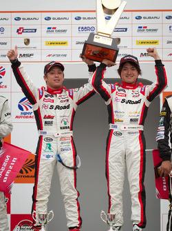GT300 podium: winners Yuhi Sekiguchi and Katsumasa Chiyo