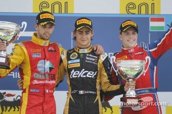 Podium: race winner Esteban Gutierrez, second place Nathanael Berthon, third place Luiz Razia