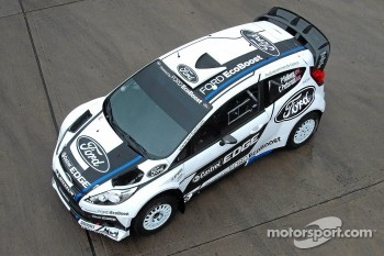 Ford World Rally Team's Fiesta RS World Rally Car, carrying a special one-off livery for Rally Finland