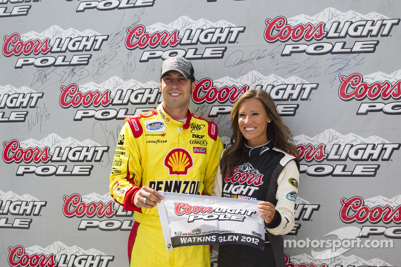 Sam Hornish Jr. celebrates pole