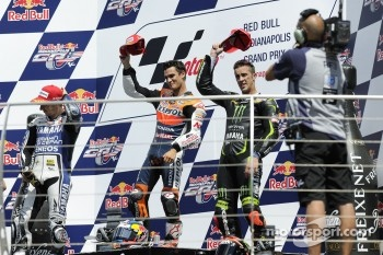 Podium: race winner Dani Pedrosa, Repsol Honda Team, second place Jorge Lorenzo, Yamaha Factory Racing, third place Andrea Dovizioso, Yamaha Tech 3
