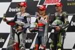 Podium: race winner Dani Pedrosa, Repsol Honda Team, second place Jorge Lorenzo, Yamaha Factory Racing, third place Cal Crutchlow, Yamaha Tech 3