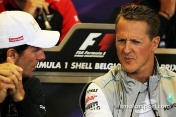 Pedro De La Rosa, HRT Formula 1 Team and Michael Schumacher, Mercedes AMG F1 in the FIA Press Conference