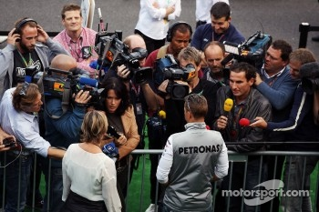 Michael Schumacher, Mercedes AMG F1 with the media