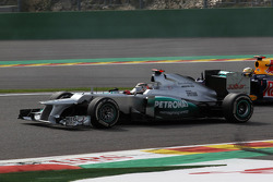 Michael Schumacher, Mercedes AMG Petronas and Sebastian Vettel, Red Bull Racing