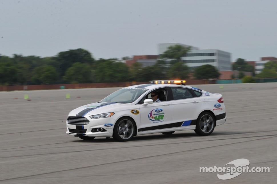 Casey Mears test drives the 2013 Ford Fusion pace car to be used for the season finale at Homestead