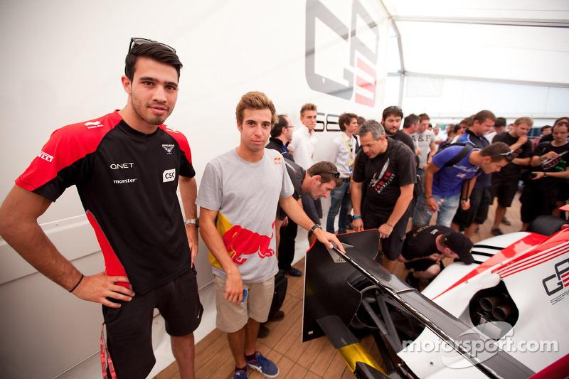 GP3 drivers Tio Ellinas and Antonio Felix Da Costa view the new GP3/13 car