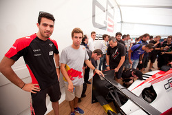 GP3 drivers Tio Ellinas and Antonio Felix Da Costa view the new GP3/13 car