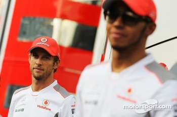 Jenson Button, McLaren with Lewis Hamilton, McLaren