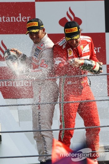 Podium: race winner Lewis Hamilton, McLaren, third place Fernando Alonso, Ferrari