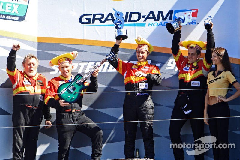 GT podium: winners Dane Cameron, Wayne Nonnamaker celebrate with teammates Will Nonnamaker, Joe Sahlen