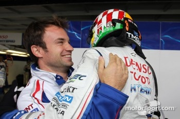 Polesitters Nicolas Lapierre and Alexander Wurz celebrate