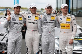 First four, Gary Paffett, Team HWA AMG Mercedes, AMG Mercedes C-Coupe, Bruno Spengler, Team HWA AMG Mercedes, AMG Mercedes C-Coupe and Dirk Werner, BMW Team Schnitzer BMW M3 DTM