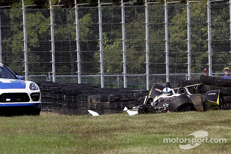 Heavy crash for #8 Merchant Services Racing Oreca FLM09: Kyle Marcelli, Lucas Downs