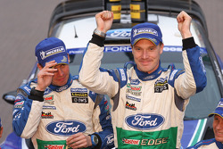 Podium: winners Jari-Matti Latvala and Miikka Anttila, Ford Fiesta RS WRC, Ford World Rally Team