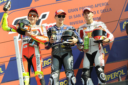 Podium: race winner Jorge Lorenzo, second place Valentino Rossi, third place Alvaro Bautista