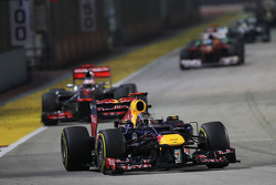 Sebastian Vettel, Red Bull Racing leads Jenson Button, McLaren
