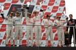 Podium from left: second place Peter Kox, Stefan Rosina, winners Frederic Makowiecki, Stef Dusseldorp and third place Alvaro Parente, Gregoire Demoustier