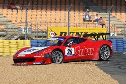 Spin for #28 Sport Garage Ferrari 458 Italia: Alban Dunod; Arno Santamato