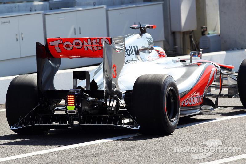 Jenson Button, McLaren MP4/27 running sensor equipment on the rear of the car