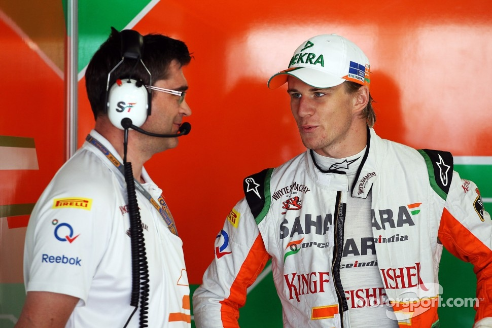 Nico Hulkenberg, Sahara Force India F1 talks with Bradley Joyce, Sahara Force India F1 Race Engineer