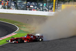 Fernando Alonso, Ferrari crashes out at the start of the race after contact with Kimi Raikkonen, Lotus F1
